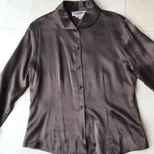Vintage coffee brown silk top
